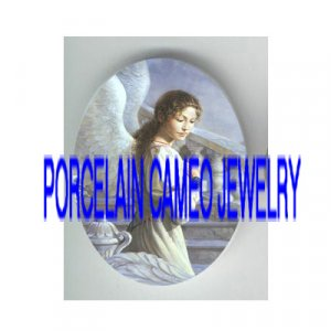 WHITE ANGEL* UNSET PORCELAIN CAMEO CABOCHON 30X40MM
