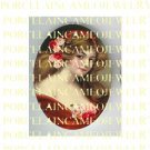 VICTORIAN GYPSY GIRL IN RED WITH ROSE  * UNSET PORCELAIN CAMEO CAB