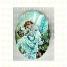 BLUE SLEEPING ANGEL IN THE FOREST  * UNSET PORCELAIN CAMEO CAB