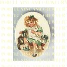 VICTORIAN IRISH GREEN GIRL PLAYING WITH 2 KITTY CAT * UNSET PORCELAIN CAMEO CAB