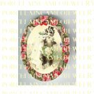 2 VICTORIAN KITTY CAT ROSE WEDDING* UNSET PORCELAIN CAMEO CAB