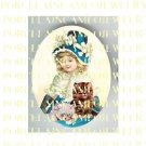 VICTORIAN RIBBON BLUE HAT GIRL WITH 2 KITTY CAT * UNSET PORCELAIN CAMEO CAB