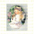 ANGEL GIRL HOLDING KITTY CAT FLOWER* UNSET PORCELAIN CAMEO CAB