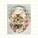 MAINE COON CAT WITH SPRING PINK ROSE* UNSET PORCELAIN CAMEO CAB
