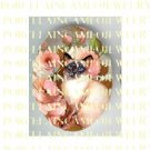 BLUE EYES SIAMESE CAT WITH ROSE  * UNSET PORCELAIN CAMEO CAB