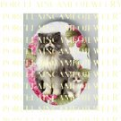 PERSIAN CAT MOM KITTY PINK HYDRANGEA   * UNSET PORCELAIN CAMEO CAB