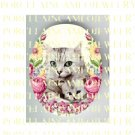 GREY TABBY CAT MOM CUDDLING KITTY ROSE * UNSET PORCELAIN CAMEO CAB