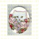WHITE CAT WITH SPRING ROSE * UNSET PORCELAIN CAMEO CAB