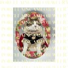 CROWN KITTY CAT ROSE WREATH* UNSET PORCELAIN CAMEO CAB