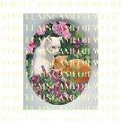2 WHITE ORANGE CAT TULIPS VIOLET GARDEN* UNSET PORCELAIN CAMEO CAB