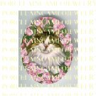 GREEN EYES MAINE COON CAT PINK ROSE* UNSET PORCELAIN CAMEO CAB