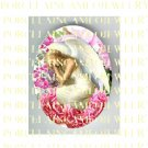SLEEPING ANGEL PINK ROSE* UNSET PORCELAIN CAMEO CAB