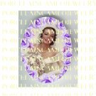 VINTAGE WEDDING BRIDE WITH PURPLE ROSE* UNSET PORCELAIN CAMEO CAB