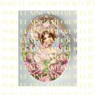 VICTORIAN PINK RIBBON SWEET YOUNG LADY   ROSE * UNSET PORCELAIN CAMEO CAB