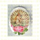 VICTORIAN SEASHELL MERMAID ROSE FEATHER FAN* UNSET PORCELAIN CAMEO CAB