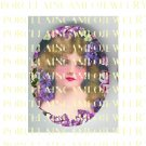 VICTORIAN LADY WITH PURPLE VIOLET* UNSET PORCELAIN CAMEO CAB