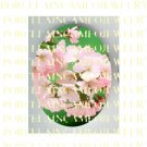 PINK SPRING CHERRY BLOSSOMS  UNSET PORCELAIN CAMEO CAB