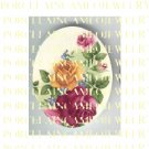 VICTORIAN PINK YELLOW ROSE  * UNSET PORCELAIN CAMEO CAB