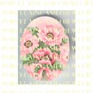 PINK POPPY FLOWER* UNSET PORCELAIN CAMEO CAB
