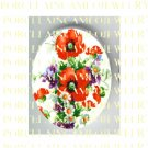 POPPY WITH VIOLET DAISY FLOWER* UNSET PORCELAIN CAMEO CAB