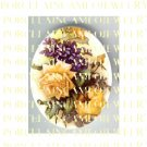 VICTORIAN YELLOW ROSE WITH VIOLET * UNSET PORCELAIN CAMEO CAB
