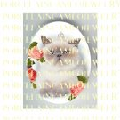CROWN PRINCESS PERSIAN CAT ROSE  * UNSET PORCELAIN CAMEO CAB