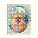 SMILING POMERANIAN DOG FORGET ME NOT* UNSET PORCELAIN CAMEO CAB