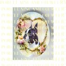 BOSTON TERRIER DOG ROSE HEART FORGET ME NOT* UNSET PORCELAIN CAMEO CAB