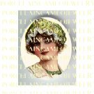VICTORIAN  LADY WITH GREEN LACE HAT* UNSET PORCELAIN CAMEO CAB