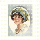 VICTORIAN LADY WITH BLUE GOLD LACE HAT* UNSET PORCELAIN CAMEO CAB