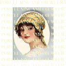 VICTORIAN LADY WITH GOLD LACE HAT* UNSET PORCELAIN CAMEO CAB