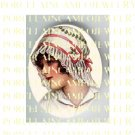 VICTORIAN LADY WITH RED WHITE LACE HAT* UNSET PORCELAIN CAMEO CAB