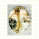 VICTORIAN LADY IN YELLOW DRESS* UNSET PORCELAIN CAMEO CAB