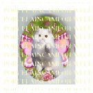 WHITE PERSIAN BUTTERFLY FAIRY CAT ROSE * UNSET PORCELAIN CAMEO CAB