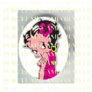BETTY BOOP WITH PINK HIBISCUS FLOWER* UNSET PORCELAIN CAMEO CAB