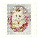 VICTORIAN QUEEN HEART CROWN KITTY CAT ROSE   * UNSET PORCELAIN CAMEO CAB