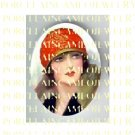 ART DECO VINTAGE FLAPPER RED HAT LADY * UNSET PORCELAIN CAMEO CAB