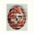 SKULL BONE WITH RED DRAGON* UNSET PORCELAIN CAMEO CAB