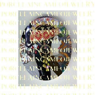 ALPHONSE MUCHA ART NOUVEAU DECO FLOWER LADY PORCELAIN CAMEO CAB 58