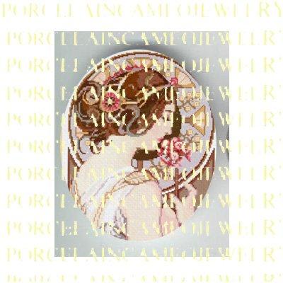 ALPHONSE MUCHA ART NOUVEAU DECO PINK FLOWER LADY PORCELAIN CAMEO CAB 58-2