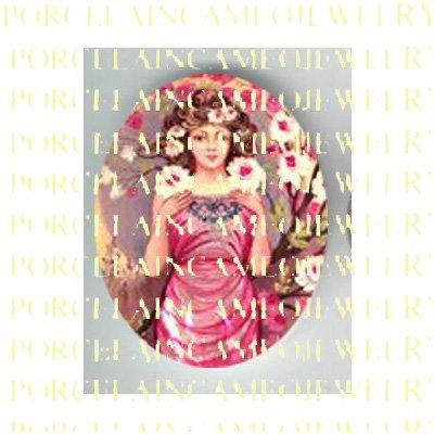 ALPHONSE MUCHA ART NOUVEAU ROSE LADY PORCELAIN CAMEO CAB 58-4
