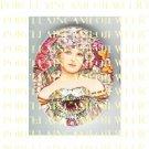 ALPHONSE MUCHA ART NOUVEAU PINK FLOWER LADY PORCELAIN CAMEO CAB 58-5