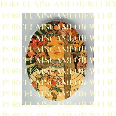 ALPHONSE MUCHA ART NOUVEAU LILY FLOWER LADY PORCELAIN CAMEO CAB 58-19