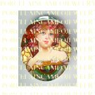 ALPHONSE MUCHA ART NOUVEAU PINK FLOWER LADY PORCELAIN CAMEO CAB 58-11