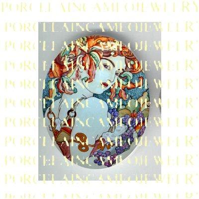ALPHONSE MUCHA ART NOUVEAU DECO FRUIT LADY PORCELAIN CAMEO CAB 58-14