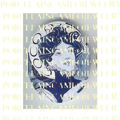 ALPHONSE MUCHA ART NOUVEAU DANISH BLUE LADY PORCELAIN CAMEO CAB 58-15