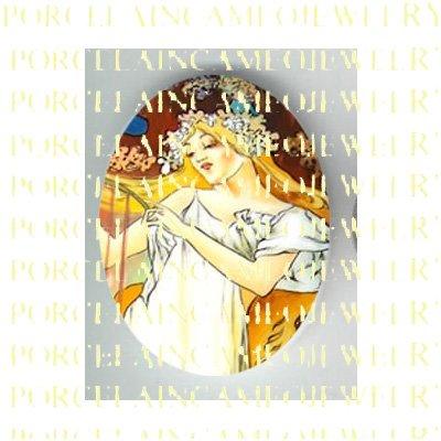 ALPHONSE MUCHA ART NOUVEAU FLOWER LADY PORCELAIN CAMEO CAB 58-17