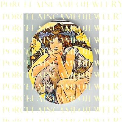ALPHONSE MUCHA ART NOUVEAU FLOWER LADY PORCELAIN CAMEO CAB 58-18
