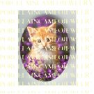 GINGER KITTY CAT PURPLE VIOLET* UNSET PORCELAIN CAMEO CABOCHON