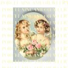 2 VICTORIAN   ANGEL CHERUB HOLDING ROSE* UNSET PORCELAIN CAMEO CABOCHON